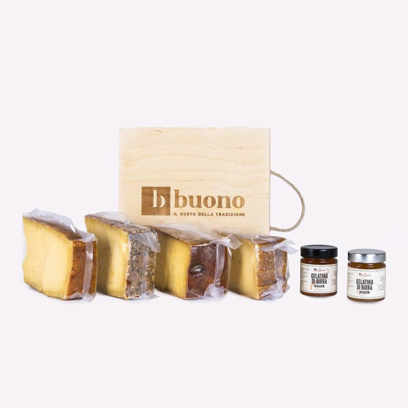 Cassetta in legno con 4 fgormaggi stagionati DOP delle valli di Brescia